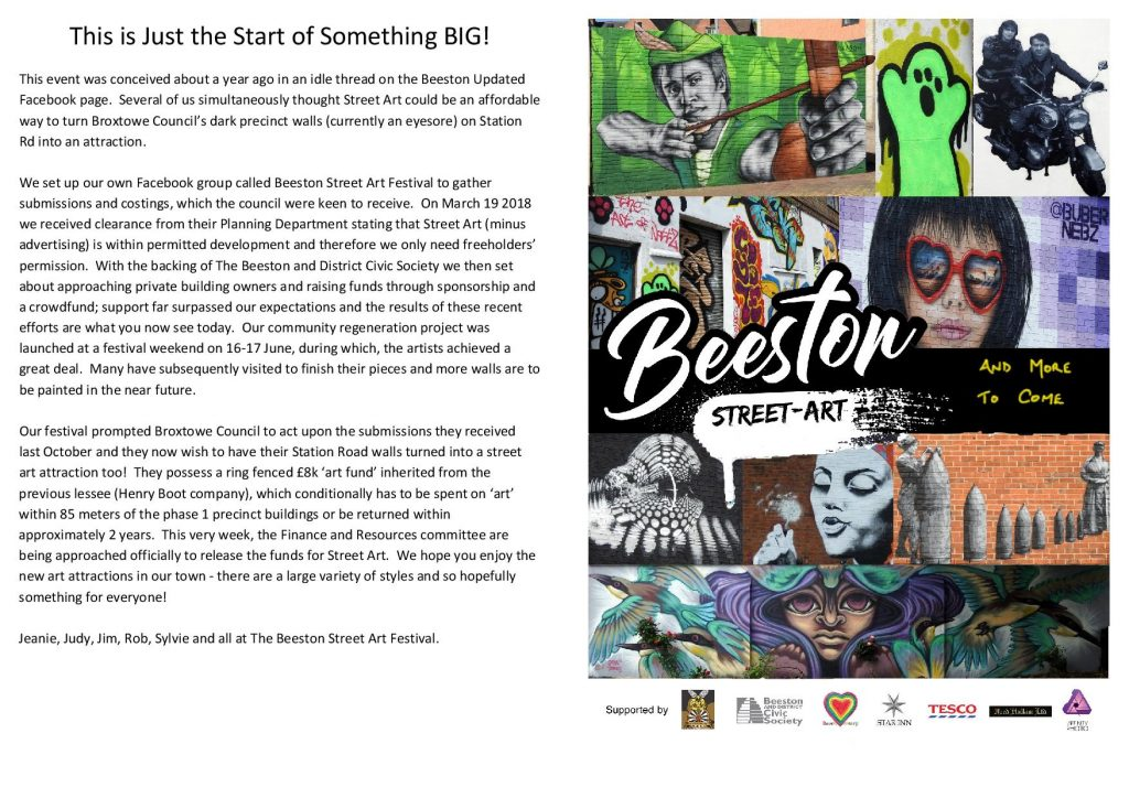 Our festival prompted Broxtowe Councils leader and deputy to look at the costed design commissions we presented last year and their Finance and Resources ...